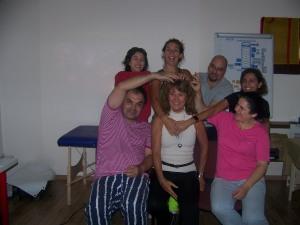 BodyTalk Greece Team giving teacher a treat.